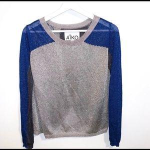 Aiko XS Metallic Blue Silver Thin knit Sweater